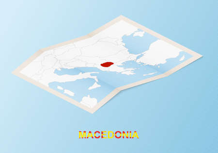 Folded paper map of Macedonia with neighboring countries in isometric style on blue vector background. 矢量图像