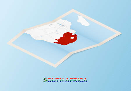 Folded paper map of South Africa with neighboring countries in isometric style on blue vector background.