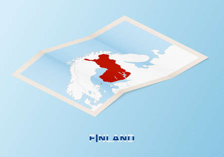 Folded paper map of Finland with neighboring countries in isometric style on blue vector background.