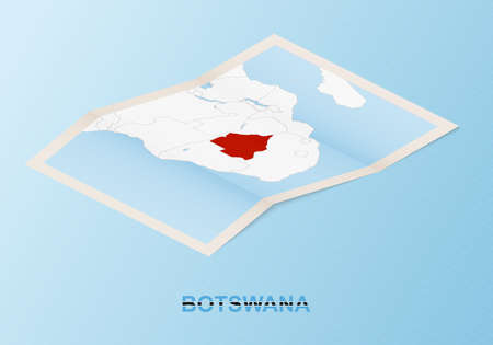 Folded paper map of Botswana with neighboring countries in isometric style on blue vector background.