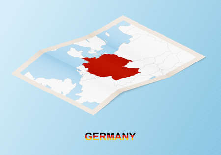 Folded paper map of Germany with neighboring countries in isometric style on blue vector background. 矢量图像