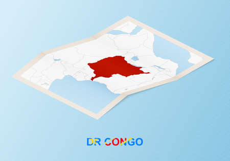 Folded paper map of DR Congo with neighboring countries in isometric style on blue vector background.