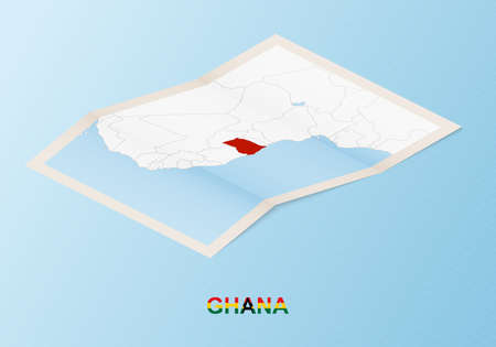 Folded paper map of Ghana with neighboring countries in isometric style on blue vector background.