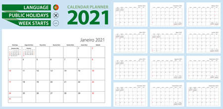 Portuguese calendar planner for 2021. Portuguese language, week starts from Sunday. Vector template. Ilustrace