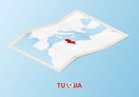 Folded paper map of Tunisia with neighboring countries in isometric style on blue vector background.