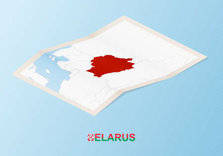 Folded paper map of Belarus with neighboring countries in isometric style on blue vector background.