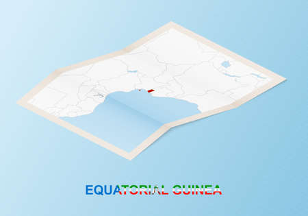 Folded paper map of Equatorial Guinea with neighboring countries in isometric style on blue vector background. 矢量图像