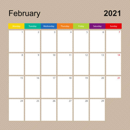 Ð¡alendar page for February 2021, wall planner with colorful design. Week starts on Monday. Vector calendar template.