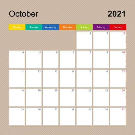 Ð¡alendar page for October 2021, wall planner with colorful design. Week starts on Monday. Vector calendar template.