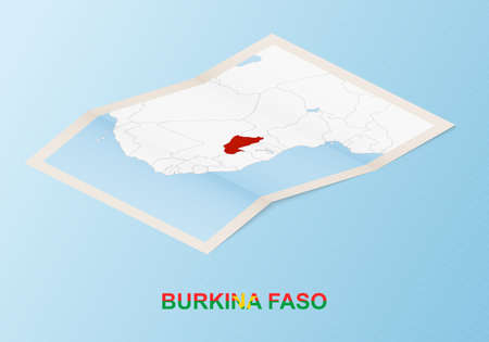 Folded paper map of Burkina Faso with neighboring countries in isometric style on blue vector background. 矢量图像