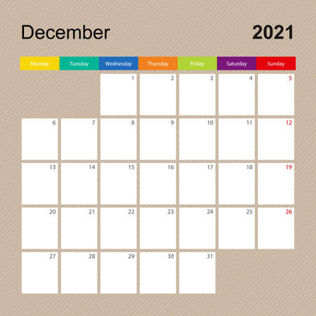 Ð¡alendar page for December 2021, wall planner with colorful design. Week starts on Monday. Vector calendar template. Ilustrace
