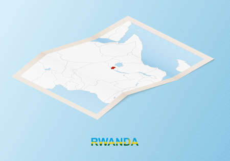 Folded paper map of Rwanda with neighboring countries in isometric style on blue vector background.