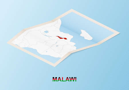 Folded paper map of Malawi with neighboring countries in isometric style on blue vector background.