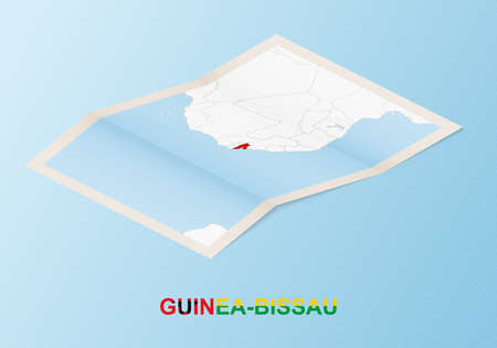 Folded paper map of Guinea-Bissau with neighboring countries in isometric style on blue vector background. 矢量图像