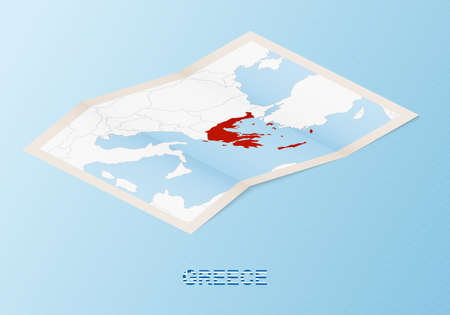 Folded paper map of Greece with neighboring countries in isometric style on blue vector background.