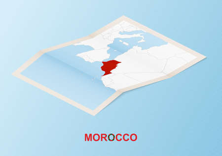 Folded paper map of Morocco with neighboring countries in isometric style on blue vector background. Illusztráció