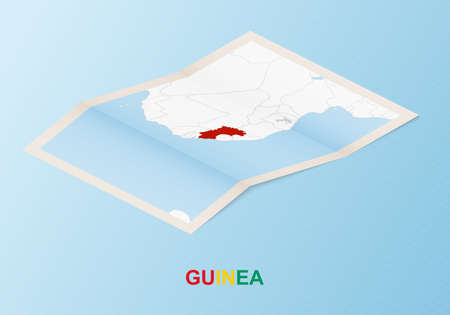 Folded paper map of Guinea with neighboring countries in isometric style on blue vector background.
