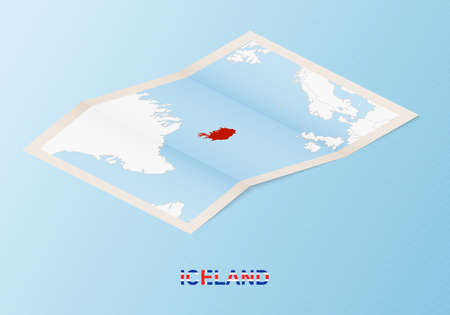 Folded paper map of Iceland with neighboring countries in isometric style on blue vector background.