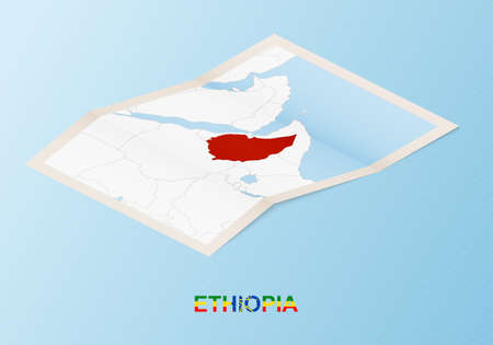 Folded paper map of Ethiopia with neighboring countries in isometric style on blue vector background.