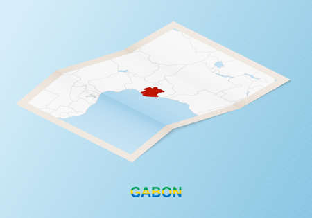 Folded paper map of Gabon with neighboring countries in isometric style on blue vector background.
