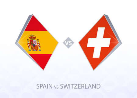 Europe football competition Spain vs Switzerland, League A, Group 4. Vector illustration.  イラスト・ベクター素材