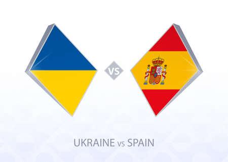 Europe football competition Ukraine vs Spain, League A, Group 4. Vector illustration.