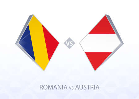Europe football competition Romania vs Austria, League B, Group 1. Vector illustration.
