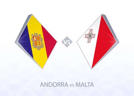 Europe football competition Andorra vs Malta, League D, Group 1. Vector illustration.  イラスト・ベクター素材