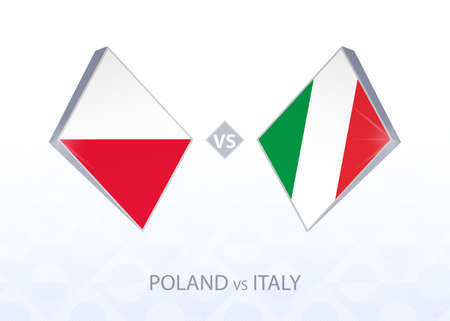 Europe football competition Poland vs Italy, League A, Group 1. Vector illustration.