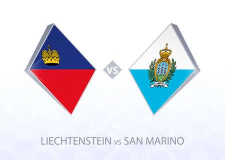 Europe football competition Liechtenstein vs San Marino, League D, Group 2. Vector illustration.