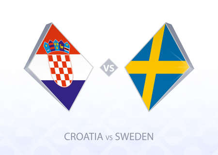 Europe football competition Croatia vs Sweden, League A, Group 3. Vector illustration.