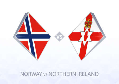 Europe football competition Norway vs Northern Ireland, League B, Group 1. Vector illustration.
