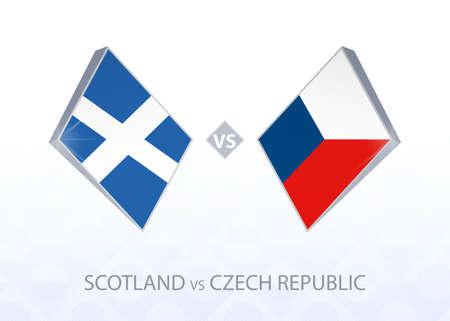 Europe football competition Scotland vs Czech Republic, League B, Group 2. Vector illustration.