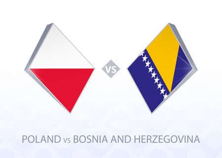 Europe football competition Poland vs Bosnia and Herzegovina, League A, Group 1. Vector illustration.