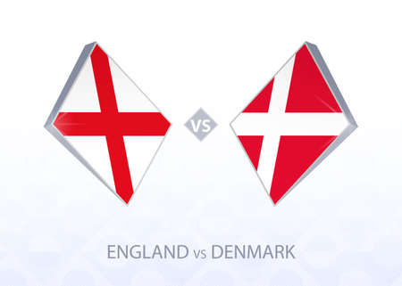 Europe football competition England vs Denmark, League A, Group 2. Vector illustration.  イラスト・ベクター素材