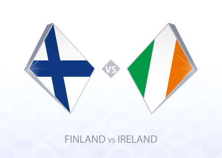Europe football competition Finland vs Ireland, League B, Group 4. Vector illustration.