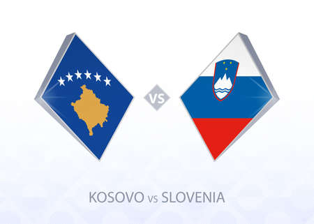 Europe football competition Kosovo vs Slovenia, League C, Group 3. Vector illustration.