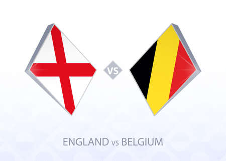 Europe football competition England vs Belgium, League A, Group 2. Vector illustration.  イラスト・ベクター素材