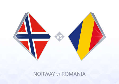 Europe football competition Norway vs Romania, League B, Group 1. Vector illustration.