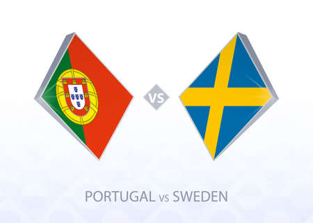 Europe football competition Portugal vs Sweden, League A, Group 3. Vector illustration. 向量圖像