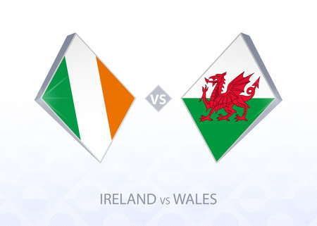 Europe football competition Ireland vs Wales, League B, Group 4. Vector illustration.