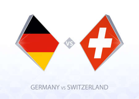 Europe football competition Germany vs Switzerland, League A, Group 4. Vector illustration.  イラスト・ベクター素材