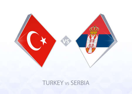 Europe football competition Turkey vs Serbia, League B, Group 3. Vector illustration.