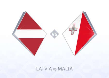 Europe football competition Latvia vs Malta, League D, Group 1. Vector illustration.