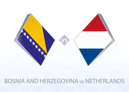 Europe football competition Bosnia and Herzegovina vs Netherlands, League A, Group 1. Vector illustration.  イラスト・ベクター素材