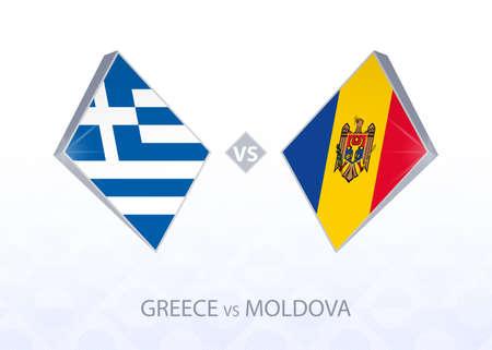 Europe football competition Greece vs Moldova, League C, Group 3. Vector illustration.