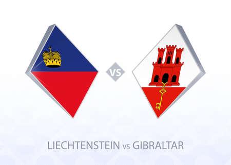 Europe football competition Liechtenstein vs Gibraltar, League D, Group 2. Vector illustration.