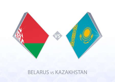 Europe football competition Belarus vs Kazakhstan, League C, Group 4. Vector illustration.  イラスト・ベクター素材