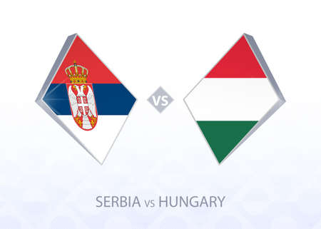Europe football competition Serbia vs Hungary, League B, Group 3. Vector illustration.