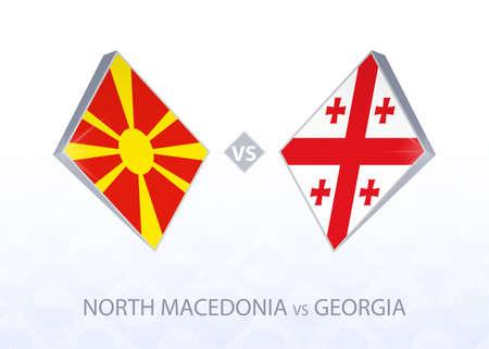 Europe football competition North Macedonia vs Georgia, League C, Group 2. Vector illustration.  イラスト・ベクター素材